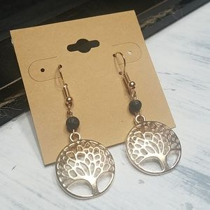 Black lava bead and goldtone tree of life earrings